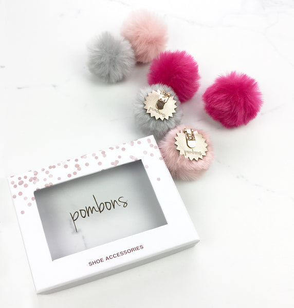 Hot Pink Light Pink - Pom Pom Shoe Clips