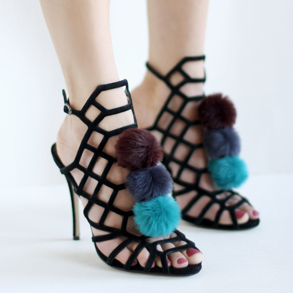 Burgundy Navy Teal - Faux Fur Pom Pom Shoe Clips