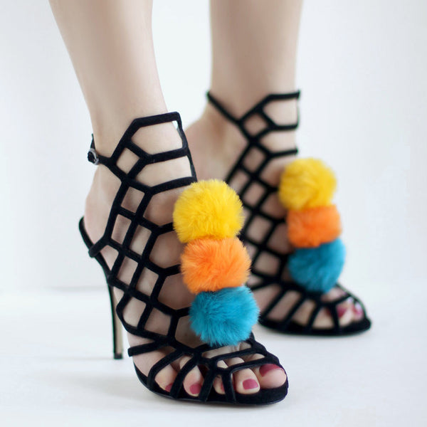 Teal Orange Yellow - Faux Fur Pom Pom Shoe Clips