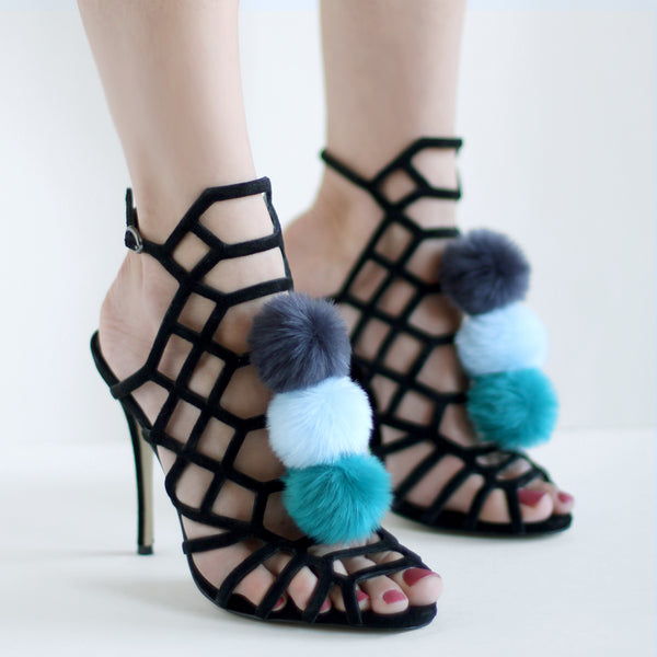 Navy Baby Blue Teal - Faux Fur Pom Pom Shoe Clips