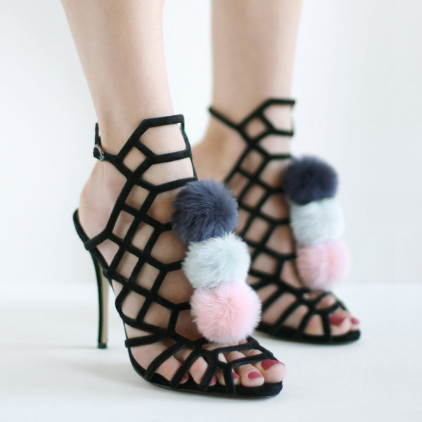 Navy Grey Pink - Faux Fur Pom Pom Shoe Clips