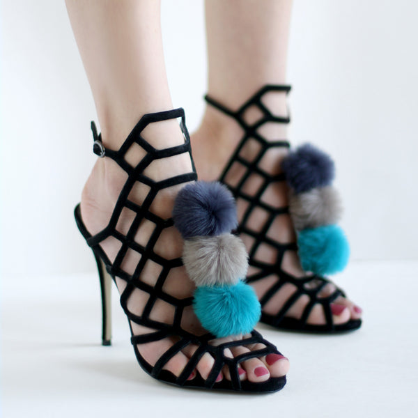 Navy Taupe Teal - Faux Fur Pom Pom Shoe Clips