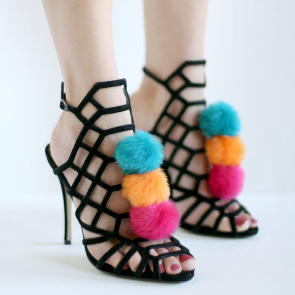 Teal Orange Pink - Faux Fur Pom Pom Shoe Clips