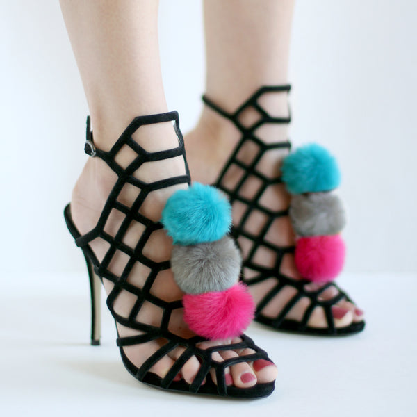 Pom Pom Shoe Clips - Hot Pink, Taupe, Teal