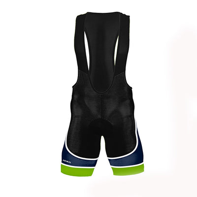Rowe & King Evo 2.0 Cycling Bib Shorts - green blue black colourway