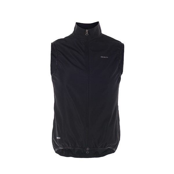 Black Men's Cycling Wind Vest - Wind Water Resistant - Primal Black Label Collection Monochrome Sleek Colourway