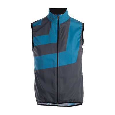 Slant Grey Men's Wind Vest / Gilet - wind water resistant - slate grey blue stripe bold pattern colourway