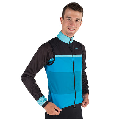 Carson Men's Wind Vest / Gilet - Wind Water Resistant - black grey blue colourway