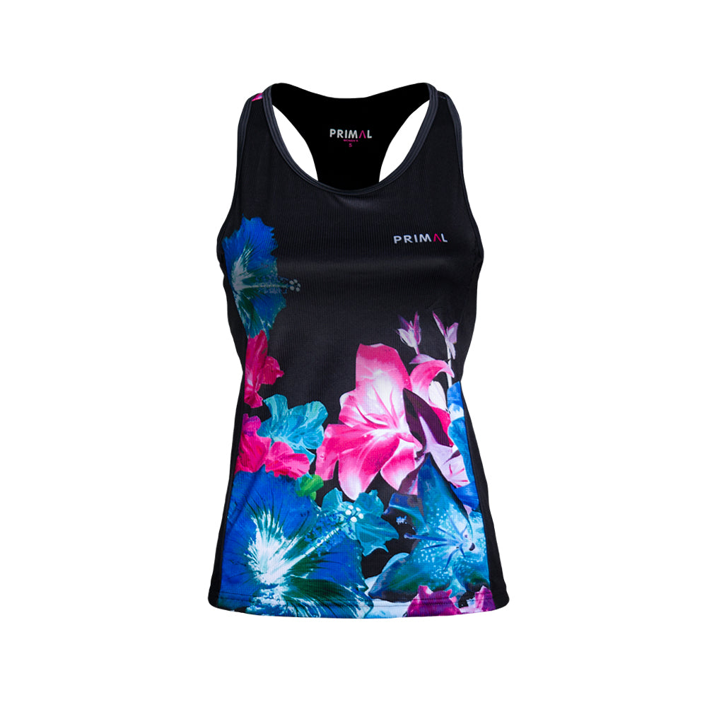 Mahalo Women's Gemini Tank - 2 way tank top built in sports bra - vibrant blue pink floral pattern colourway