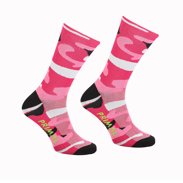 Camo Pink Cycling Socks -  Custom Cycling Clothing and accessories online - Primal Europe