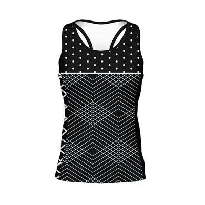 Polkaline Women's Gemini Tank - Black white monochrome stripe polkadot pattern colourway
