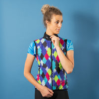 Women's Diamond Geezers Purple Wind Vest - Purple, Blue, Green, Red Colourway