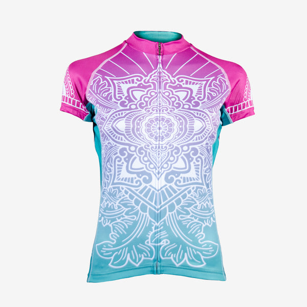 Serenity Women's Evo Jersey - race fit - pink blue white pattern design colourway