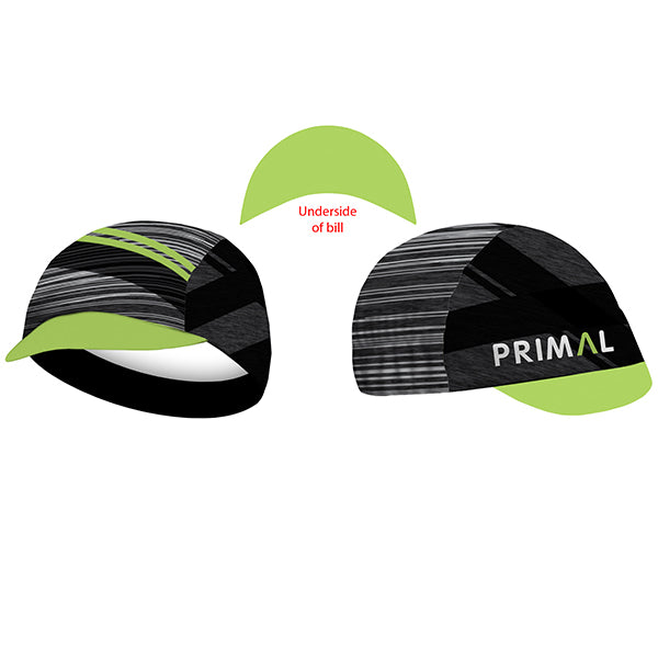 Team Primal Asonic Cycling Cap - green black grey stripe colourway