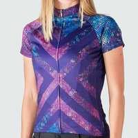 Pixel8 Women's Cycling Jersey - Sport Fit - Shooting Star Purple Pink Blue Gold Universe Sparkle Colourway