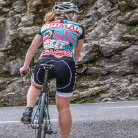 RideOn Women's Cycling Jersey - Sport Fit SpeedPro Technical Fabric - Blue and Pink Bold Slogan Colourway
