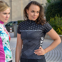 PolkaLine Women's Cycling Jersey - Sport Fit - Black White Monochrome Stripes Polkadots Colourway