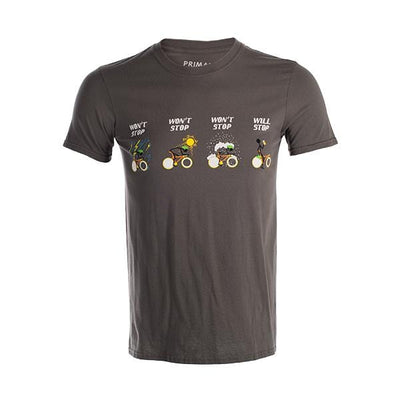 Won't Stop Men's T-Shirt Grey -  Custom Cycling Clothing and accessories online - Primal Europe
