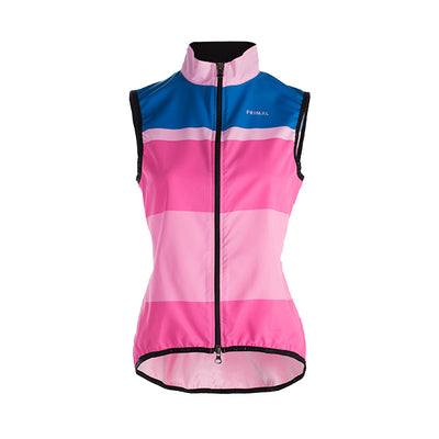 Bandita Women's Wind Vest Gilet - Wind Water Resistant - Pink Blue Stripe Colourway