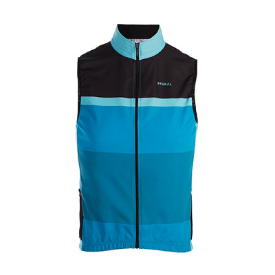 Randonneur Men's 4 Pocket Wind Vest / Gilet - wind water resistant - blue stripe black colourway
