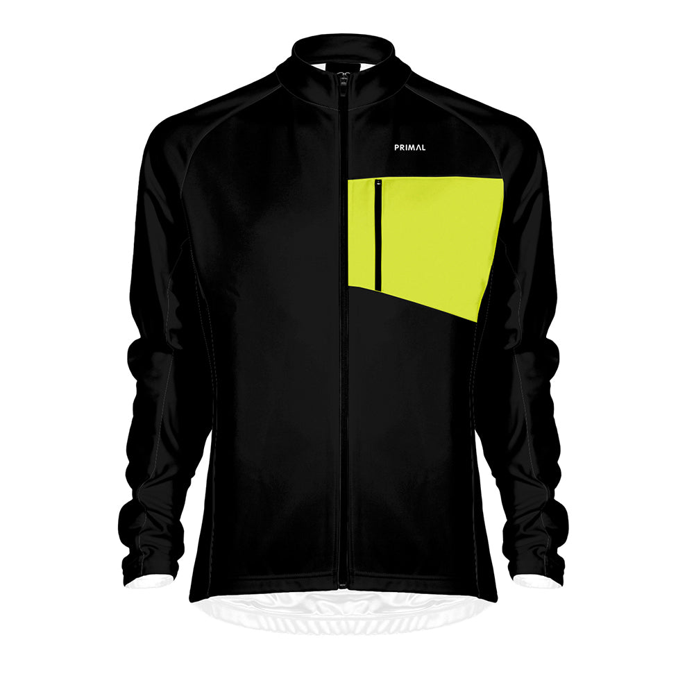 Men's Aerion Jacket - Black/Yellow - Primal Europe Cycling clothing