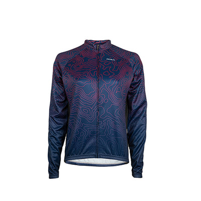 Augusta Heavyweight Long Sleeve Jersey - Fuchsia Pink Navy Blue Royal Blue map topography design colourway
