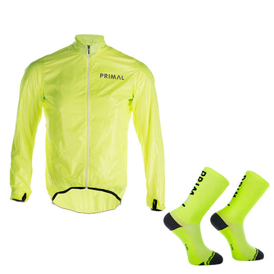 HIViz Rain Jacket & Icon Neon Cycling Socks  (Bundle&Save) -  Custom Cycling Clothing and accessories online - Primal Europe