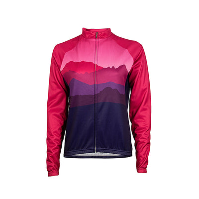 La Plata Women's Heavyweight Long Sleeve Jersey - Raspberry pink red berry fuchsia mountain dark purple colourway