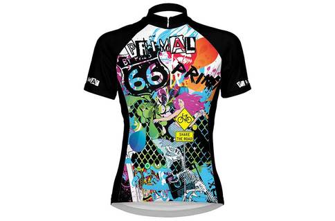 Tagged Women's Cycling Jersey - Sport Fit - Bold graffiti blue orange green yellow pink design colourway