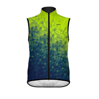 Trimotif Men's Wind Vest / Gilet - wind water resistant - green blue asymmetric pattern colourway