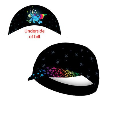 Unicorn Cycling Cap - Bright rainbow star pattern colourway