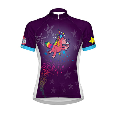 Primal Unicorn Women's Jersey - Sport fit - bright magic pattern purple blue yellow green pink colourway