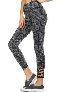 Athletic Leggings Capri with Lace Leg Bottom