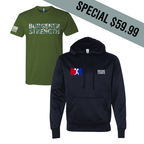 Burgener Strength Camo Shirt and Hoodie