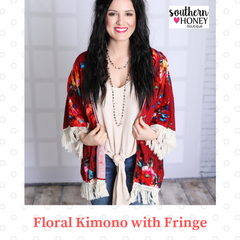 kimono with fringe - southern honey