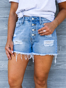 Distressed Denim Button Shorts