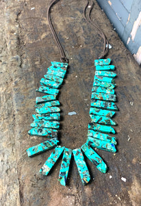 Leather and Turquoise Chunk Necklace