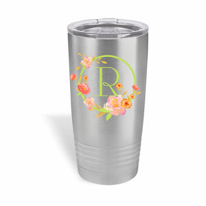 20 ounce stainless steel Polar Camel Tumbler with floral monogram