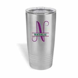 20 ounce stainless steel Polar Camel Tumbler with split letter monogram.