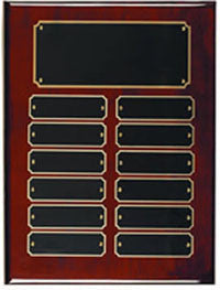Rosewood perpetual plaques with 12 or 24 name plates from Awards2you.