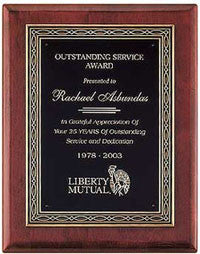 Rosewood Award Plaque with Bronze Casting