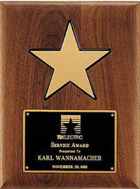 Walnut Gold Star Plaque | Custom egraved plate