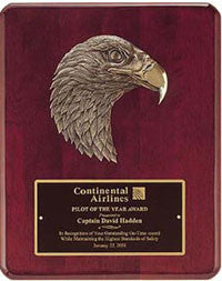 Rosewood eagle head plaque