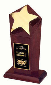 Star rosewood trophies