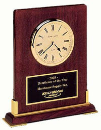 Rosewood desktop clock plaque from Awards2you