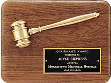 Walnut gavel plaque with gold gavel by Awards2you