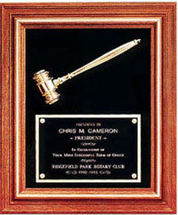 Large Framed Gavel Award Plaque | Walnut Award Plaque