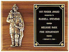Fireman Emblem Plaque | Walnut Cast Metal