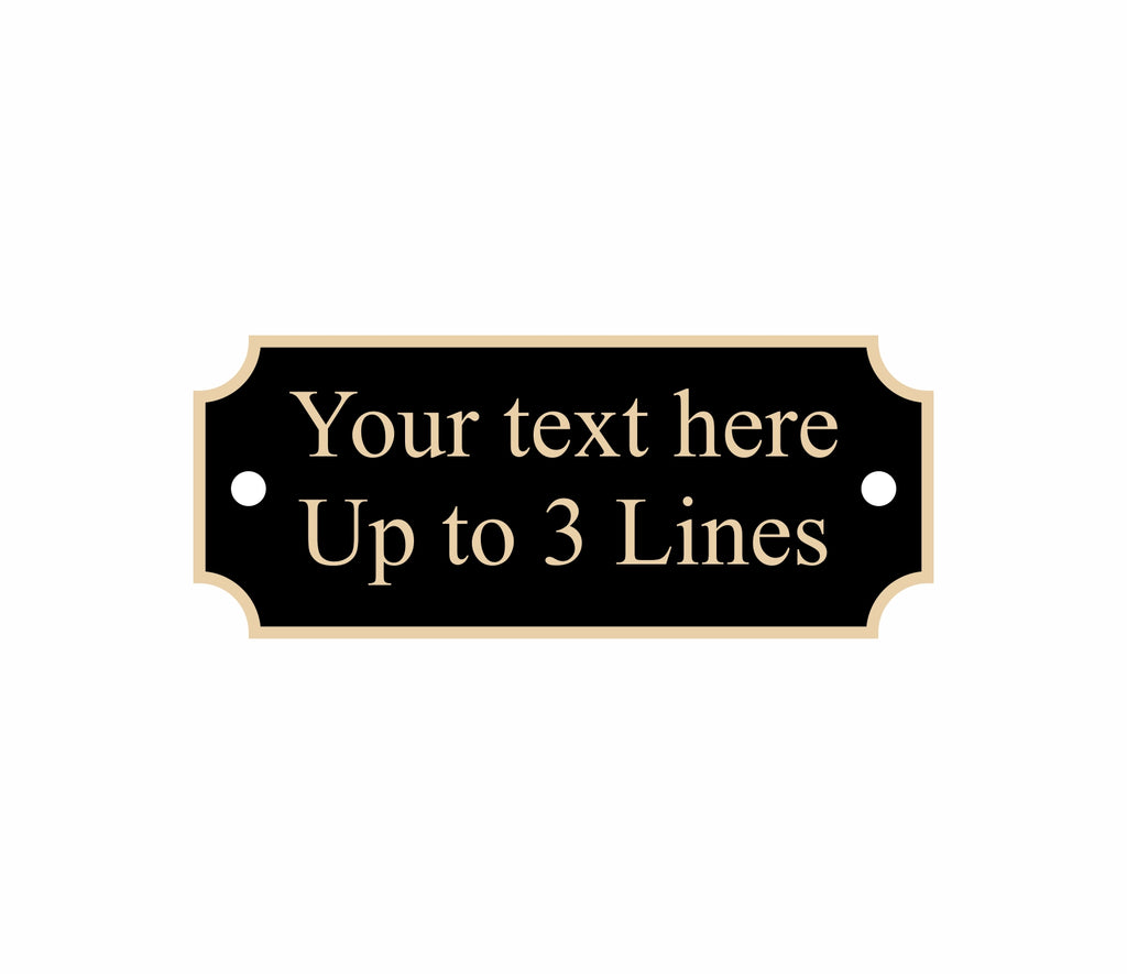 "Black nameplate with gold border, notched corners, 2 screw holes, 2.5"" x 1"""