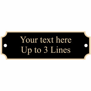 "Black nameplate with gold border, 2 screw holes, 3.25"" x 1"""